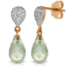14k Rose Gold Splendid Green Amethyst Diamond Earrings