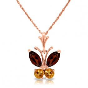 14k Rose Gold Butterfly Necklace With Garnets & Citrine