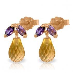 14k Rose Gold Stud Earrings With Amethyst & Citrines