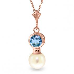 14k Rose Gold Necklace With Blue Topaz & Pearl