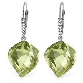 14k White Gold Earrings With Diamonds & Briolette Gree