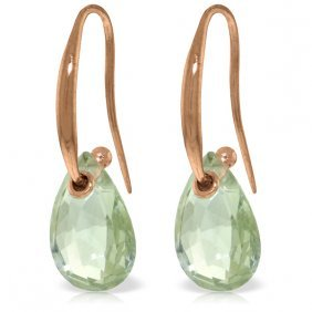 14k Rose Gold Fish Hook Earrings With Green Amethyst