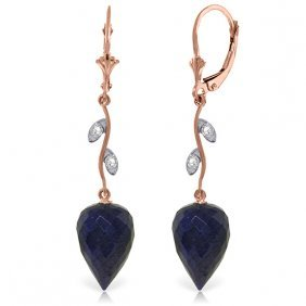 14k Rose Gold Diamonds & Drop Sapphires Earrings