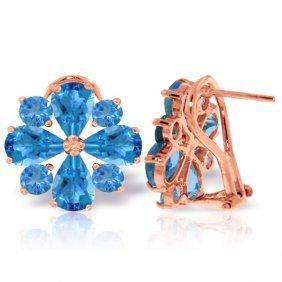 14k Rose Gold Flower Blue Topaz Clip Earrings