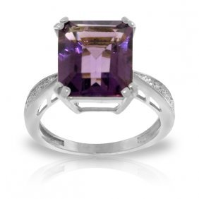 14k White Gold Ring With Diamonds & Amethyst