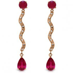 14k Rose Gold Earrings With Diamonds & Rubies