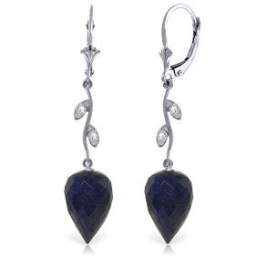 14k White Gold Diamonds & Drop Sapphires Earrings
