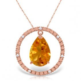14k Rose Gold Diamonds & Citrine Circle Of Love Necklac