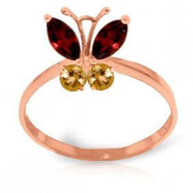 14k Rose Gold Butterfly Ring With Garnets & Citrines