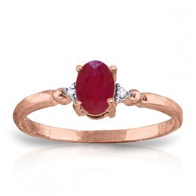 14k Rose Gold Ring With Diamonds & Ruby