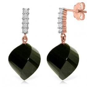 14k Rose Gold Diamond Twisted Black Spinel Earring