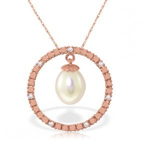 14k Rose Gold Diamonds & Pearl Circle Of Love Necklace
