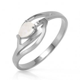 Platinum Plated Sterling Silver Ring With Natural Opal