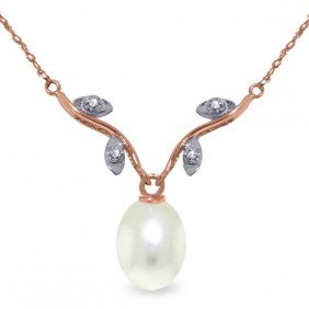 14k Rose Gold Love Oh Love Pearl Diamond Necklace