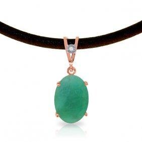 14k Rose Gold Gratitude Emerald Diamond Necklace