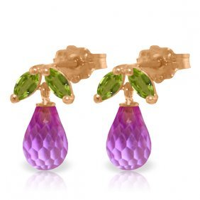 14k Rose Gold Stud Earrings With Peridot & Pink Topaz