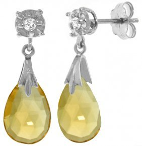 14k White Gold Stud Earrings With Diamonds & Citrines