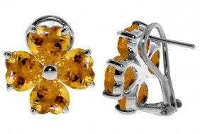 14k White Gold Sultry Look Citrine Earrings