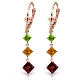 14k Rose Gold Chandelier Earrings With Peridot, Citrine