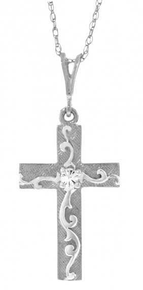 14k White Gold Cross Necklace With Diamond
