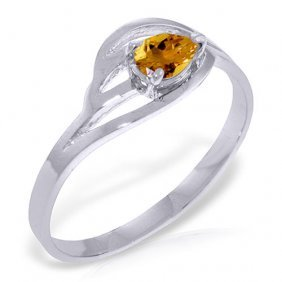 Platinum Plated Sterling Silver Ring With Natural Citri