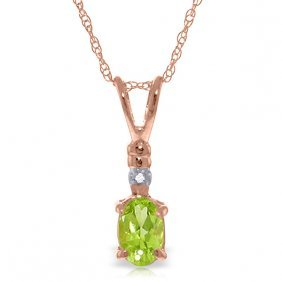 14k Rose Gold Love Murmur Peridot Diamond Necklace