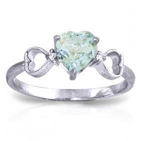 14k White Gold Precious Illusions Aquamarine Diamond Ri