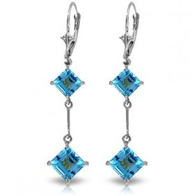 14k White Gold Leverback Earrings With Blue Topazes