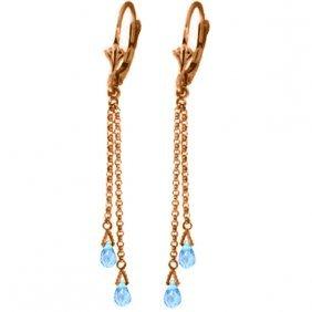 14k Rose Gold Wink Blue Topaz Briolette Earrings