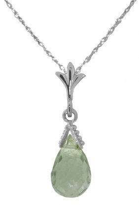 14k White Gold Towards The Sea Green Amethyst Necklace