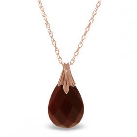 14k. Rose Gold Necklace With Natural Dyed Ruby