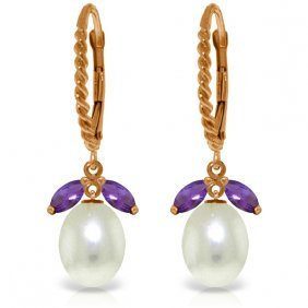 14k Rose Gold Lever Back Earrings With Amethyst & Pearl