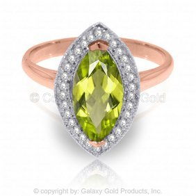 14k Rose Gold Ring With Diamonds & Marquis Peridot