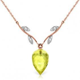 14k Rose Gold Necklace With Diamonds & Briolette Quartz