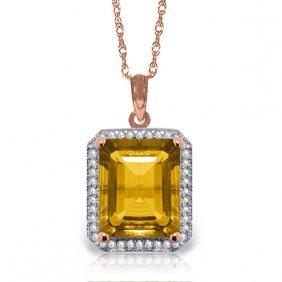 14k Rose Gold Isabella Citrine Diamond Necklace