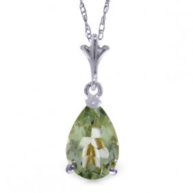 14k White Gold Petale Green Amethyst Necklace
