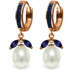 14k Rose Gold Majorca Sapphire Pearl Earrings