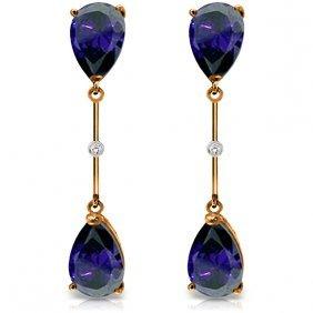 14k. Rose Gold Diamonds & Sapphires Dangling Earring