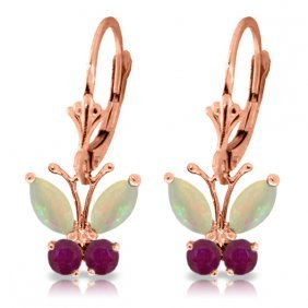 14k Rose Gold Butterfly Earrings With Opals & Rubies