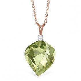 14k Rose Gold Spiral Green Amethyst Diamond Necklace