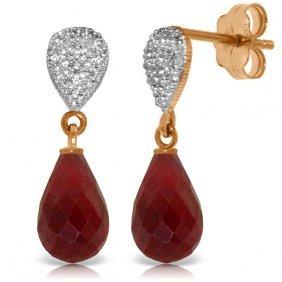 14k Rose Gold Splendid Ruby Diamond Earrings
