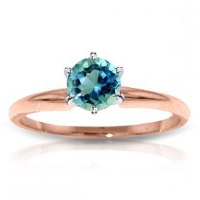 14k Rose Gold Solitaire Ring With Blue Topaz