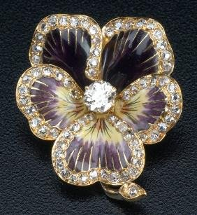 Art Nouveau Enameled Pansy Pin With Diamonds In 18k
