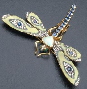 Art Nouveau Style Dragonfly Brooch In 18k Yg