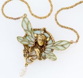 Dragonfly-woman Necklace, Plique-�-jour Enamel