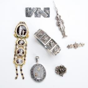 Late 19th And Early 20th C. Sterling Jewelry: Figur