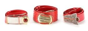 Three Red Judith Leiber Belts With One Dust Bag