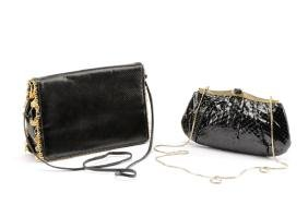 Two Black Judith Leiber Handbags, Python & Lizard