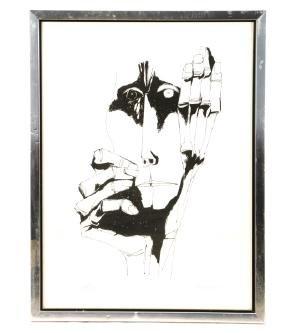 """Oswaldo Guayasamin, """"Face"""", Lithograph"""