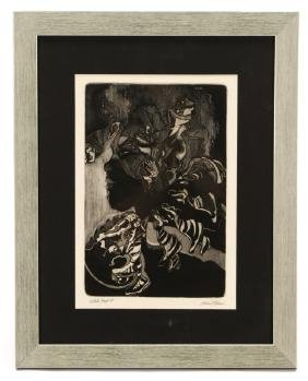 "Michael Ellison, ""Face""-1987, Etching"
